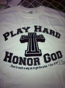 Play Hard Honor God t-shirt white